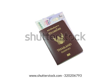 Thailand passport with Thai money isolated on white background