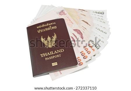 Thailand passport with Thai money ready to travel on white background - stock photo