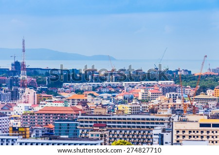 THAILAND, PATTAYA - OCTOBER 26: Top view of Pattaya city, on October 26.2014 in Pattaya, Thailand.
