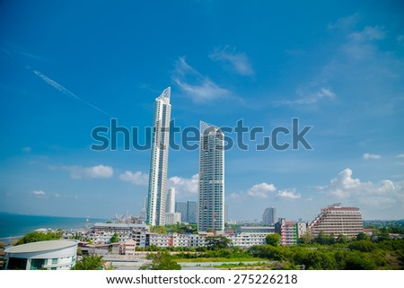 THAILAND, PATTAYA : Panorama of the city with views of the city's waterfront - stock photo