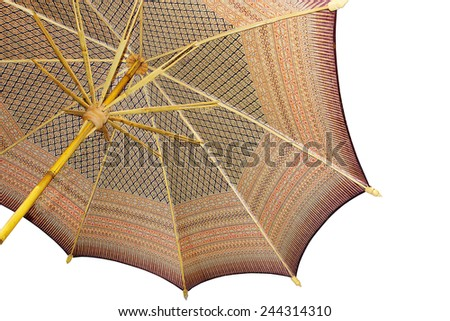 Thailand pattern silk umbrella and sky blue art artist handicraft beach isolated on white background. - stock photo