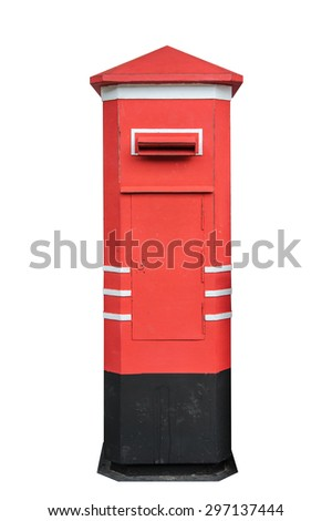 Thailand postbox isolated on white background.