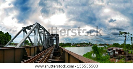 Thailand. Railway Bridge at sunset - stock photo