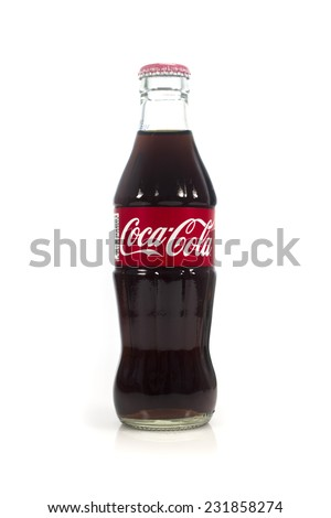 Thailand , Rayong - September 04, 2014: Photo of 25 milliliters size of Coca-Cola. Coca-Cola is the most popular favorite carbonated beverages.  - stock photo