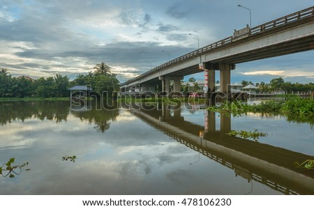 Thailand river and bridge  in rainy day