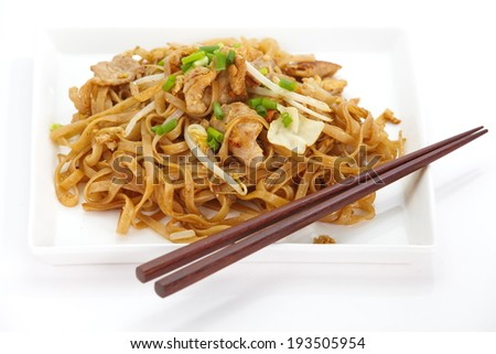 Thailand s national dishes, stir-fried rice noodles Pad Thai  - stock photo