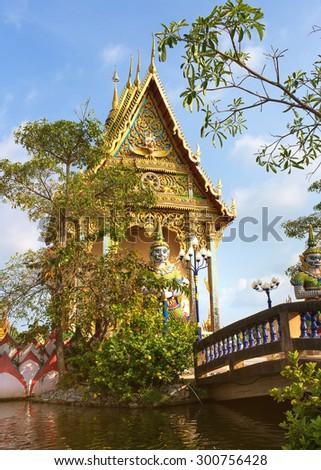 Thailand, Samui  excursion to the temple of Wat Plai Laem on the island Samui - stock photo