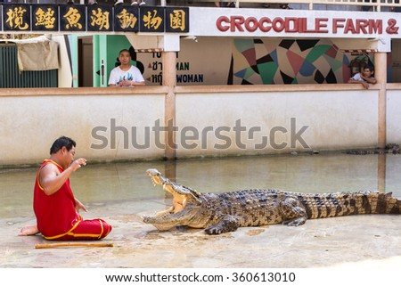 """THAILAND, SAMUT PRAKAN - December 27,2015: An unidentified zoo keeper puts a head in a mouth of the crocodile as part of """"Show of crocodiles"""" at Samut Prakan Crocodile Farm and Zoo. - stock photo"""