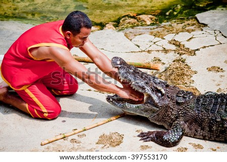 """Thailand, Samut Prakan - Otober, 25, 2009 : Unidentified zoo keeper puts a hand in a mouth of the crocodile as part of """"Show of crocodiles"""" at Samut Prakan Crocodile Farm and Zoo. - stock photo"""