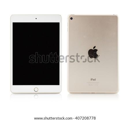 THAILAND, SAMUTSAKHON APRIL 14, 2016: Apple iPad Mini isolated on white background - stock photo