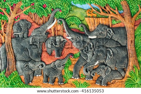 Thailand sandstone craft elephants