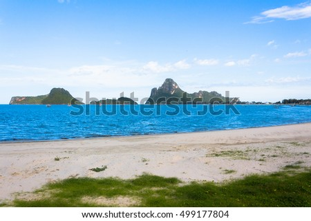 Thailand sea view beach blue sky. sea beach in Prachuap Khiri Kh