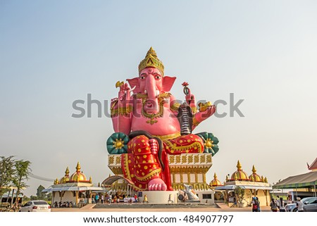 THAILAND - SEPTEMBER,2016 : Big Ganesh sitting posture in Wat Phrong Akat temple architecture beautiful in Bang Nam Priao District, Chachoengsao Province,Thailand.