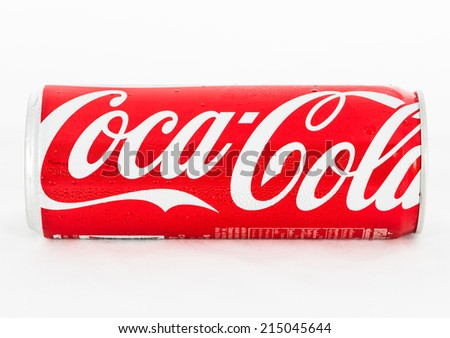 THAILAND - SEPTEMBER 04, 2014:  Coca-Cola Can on White Background