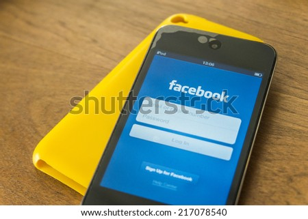 THAILAND - SEPTEMBER 05, 2014: Facebook  application login screen  on ipod product of apple music player. - stock photo