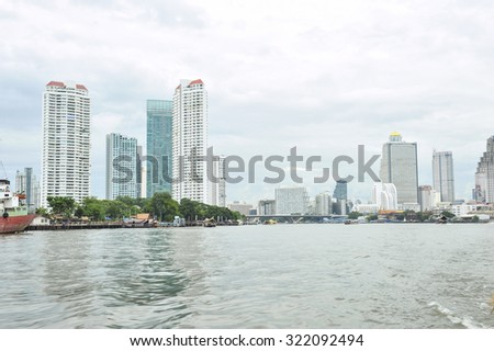 THAILAND-september 16,2015: the view point of Chao Phraya River between Saphan Taksin station to asiatique the river front this station is important to point out areas in Thonburi district,
