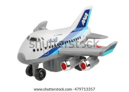 THAILAND - SEPTEMBER 2016 : toy plane of ANA (All Nippon Airways, Japanese Airlines) isolated on white background, illustrative editorial image