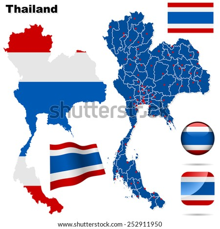 Thailand set. Detailed country shape with region borders, flags and icons isolated on white background. - stock photo