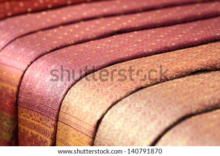 Thailand silk close up - stock photo