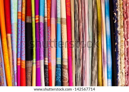 Thailand silk, close-up. - stock photo