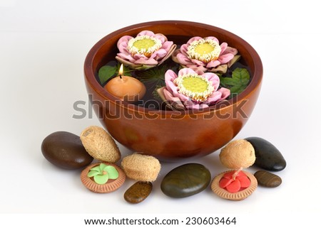 Thailand spa with pink lotus with medicinal properties. - stock photo