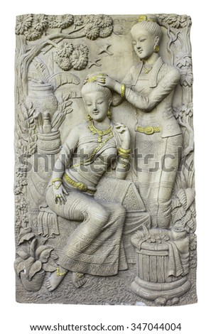 Thailand statue woman art - stock photo