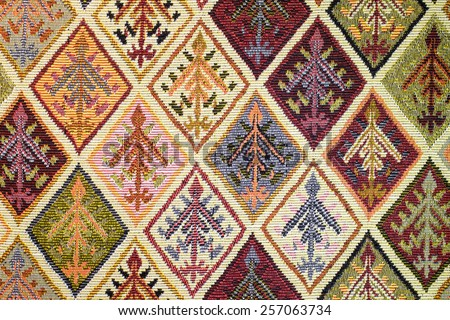 Thailand style rug surface close up vintage fabric is made of hand-woven cotton fabric More of this motif. - stock photo