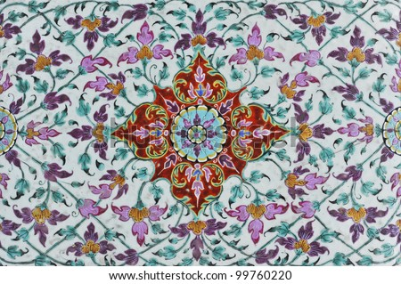 Thailand temple pattern thai mural on tile wall, Thailand Thai art wall pattern illustrations - stock photo