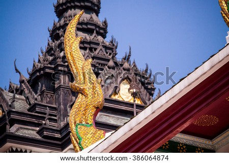 Thailand temple roof with a sky background.