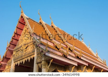 Thailand temple roof with blue sky