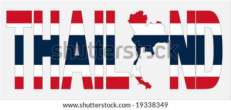 Thailand text with map on Thai flag illustration JPEG