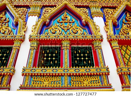 Thailand traditional style carved plaster or glass on the church