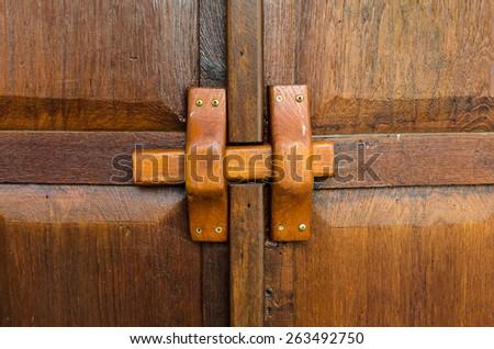 Thailand traditional wood door. - stock photo