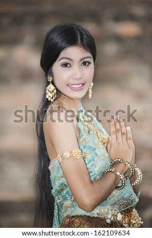 Thailand woman in tradditional dress - stock photo
