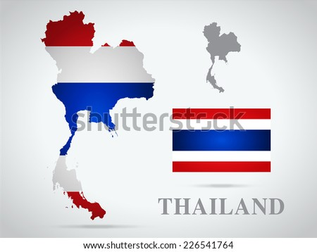Thailand world map in flag texture