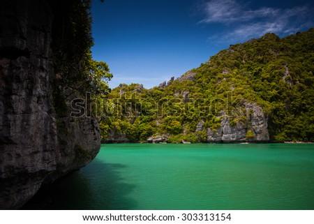 Thale Nai lagoon, Mae Koh island, Ang Thong National Marine Park, Thailand - stock photo