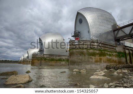 Thames barrier in Greenwich on an overcast day