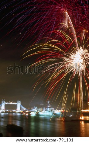Thames Fireworks - stock photo