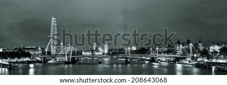 Thames River night with London urban architecture. - stock photo