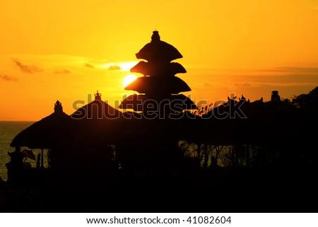 Thanalot temple at sunset - Bali. - stock photo