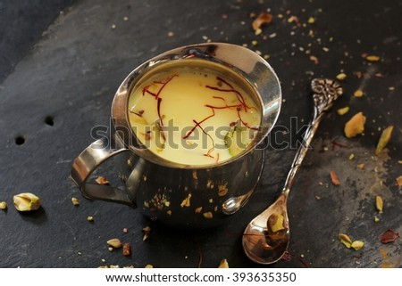 Thandai - Popular cold drink made of cardamom,saffron, almonds fennel seeds and milk made during the festival of Holi in India and Pakistan, selective focus - stock photo