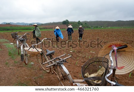 THANH HOA, Vietnam, April 24, 2016 farmers, rural areas in Thanh Hoa, corn planting season