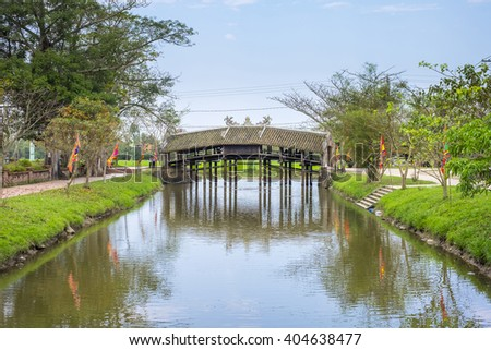 Thanh Toan Bridge, ancient Japanese bridge in Thuy Thanh village, Thua Thien-Hue Province, Vietnam