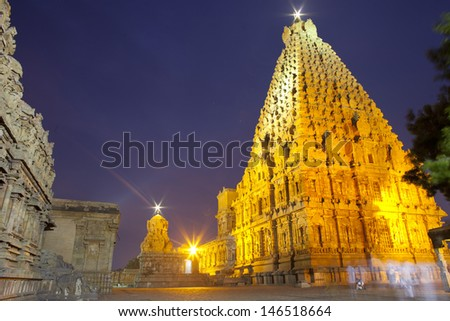 Thanjavur Brihadeeswarar Temple at night. One of the world heritage sites.