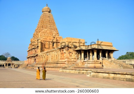 THANJAVUR, INDIA â?? FEBRUARY 6 2015: Brihadeeswara Temple was constructed between 1002 and 1010.Temple tower is 66 meters high and is believed that 130000 tons of granite was used to construct it.
