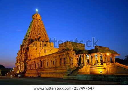 THANJAVUR, INDIA -FEBRUARY 5 2015:   Brihadeeswara Temple was constructed between 1002 and 1010 and temple tower is 66 meters high.