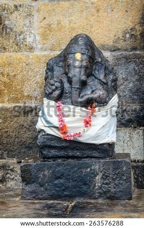THANJAVUR, INDIA - FEBRUARY 13, 2013:  Ganesh statue in Hindu Brihadishwarar Temple, Thanjavur, Tamil Nadu, India - stock photo