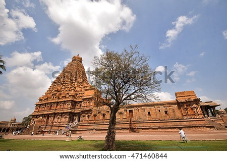 THANJAVUR, INDIA - FEBRUARY 17: Hindu pilgrims visiting Brihadeeswarar Temple on February 17, 2012. in Thanjavur, Tamil Nadu, India. Brihadeeswarar Temple is One of the world heritage sites.