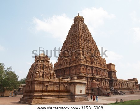 THANJAVUR (TANJORE), TAMIL NADU/INDIA - MARCH 11, 2013: View of the Brihadishwara temple, completed in 1010 during the Chola dynasty.