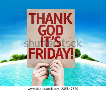 Thank God It's Friday card with a beach on background - stock photo